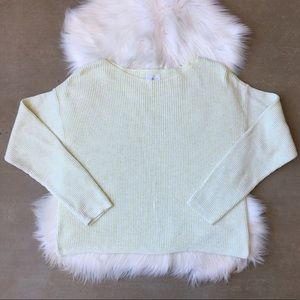 Lou & Grey Green Yellow White Marled Knit Sweater